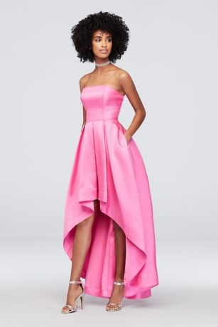 High Low Strapless Mikado Fit To Flare Dress David S Bridal