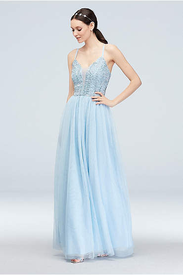 Spaghetti-Strap Beaded Bodice V-Neck Mesh Gown