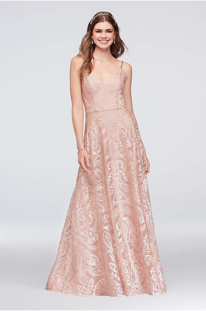 Embroidered Mesh A-Line Slip Dress - Wide-set straps, a flattering V-neck, and a soft