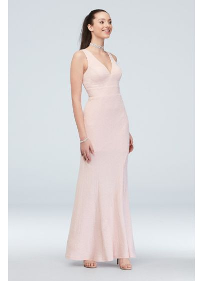 Deep-V Double Strap Glitter Knit Dress - This figure-hugging silhouette, made of a glittering stretch