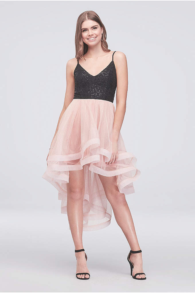 Sequin and Tulle Short Dress with Horsehair Trim - Horsehair trim and a high-low silhouette give this