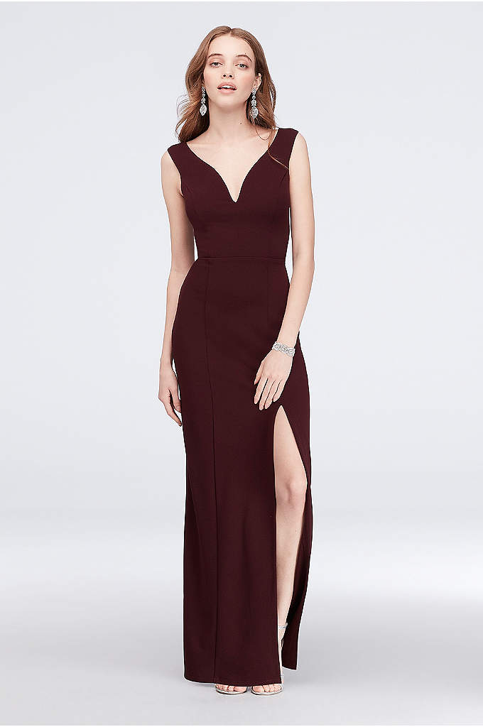 Off-the-Shoulder Scuba Crepe Sheath Dress - Off-the-shoulder sleeves and a low V-neckline give this