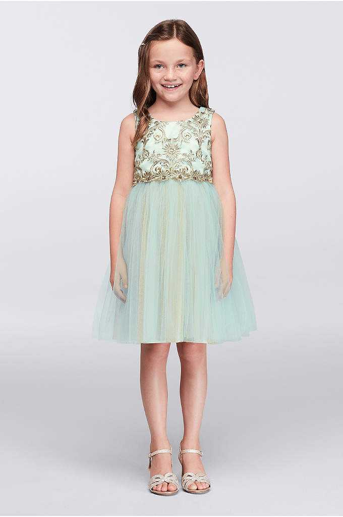 Layered Tulle Dress with Embroidered Bodice