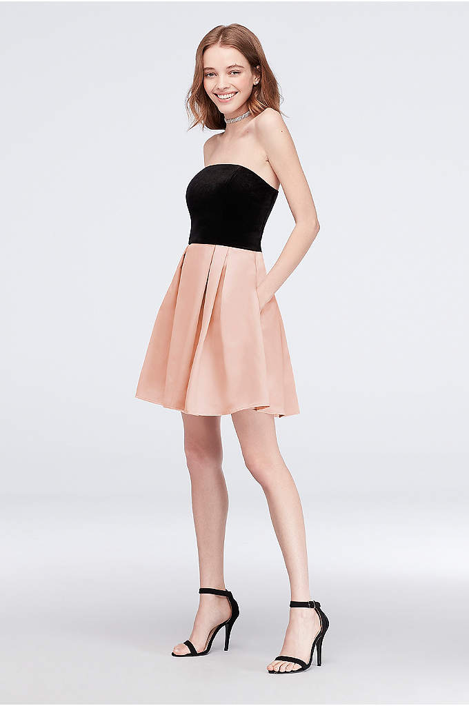 Velvet and Pleated Satin Fit-and-Flare Short Dress - Sweet and satiny, this colorblock fit-and-flare dress features