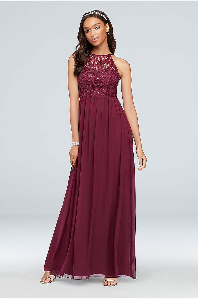Illusion Lace and Chiffon Halter A-Line Gown - A high halter neckline and soft A-line shape