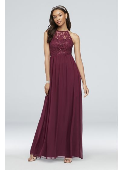cce3dbd2fec Illusion Lace and Chiffon Halter A-Line Gown