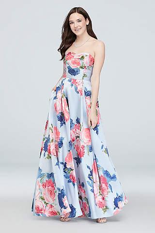 Vestido Floral Strapless Con Bolsillos