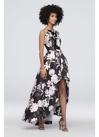 0d390cc1b Floral Printed High-Low Mikado Fit-to-Flare Dress | David's Bridal