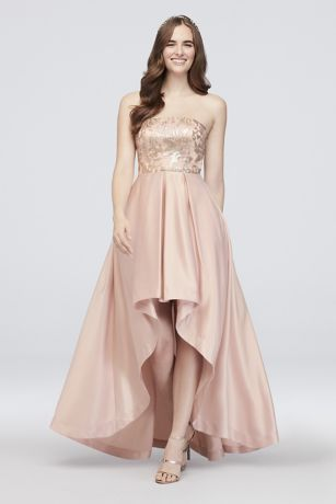 89130eeb09 High-Low Satin Strapless Dress with Sequin Lace