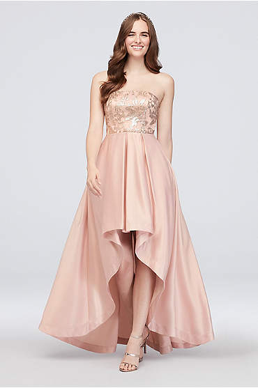 High-Low Satin Strapless Dress with Sequin Lace