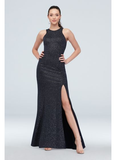 Glittery Tank Dress with Slit and Exposed Zipper - You'll catch the light in this fun and