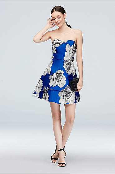 Sweetheart Floral Short Dress with Double Hem