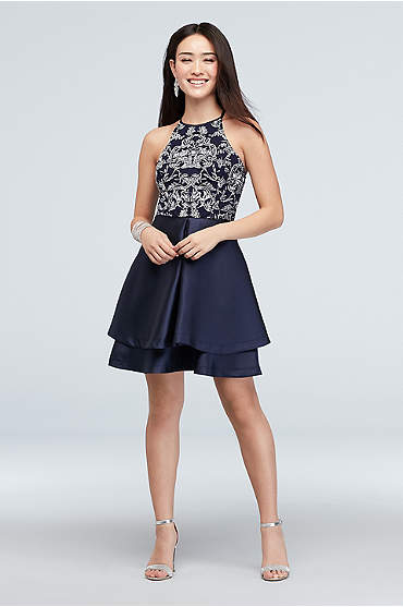 High Neck Caviar Bead and Glitter Short Dress