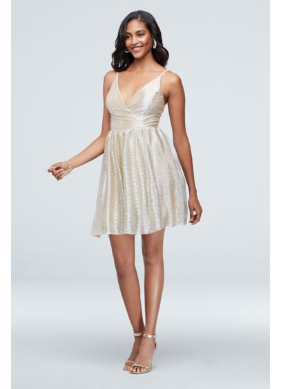 Crinkle Foil Skinny Strap Wrap Front Mini Dress - You'll shine on the dance floor in this