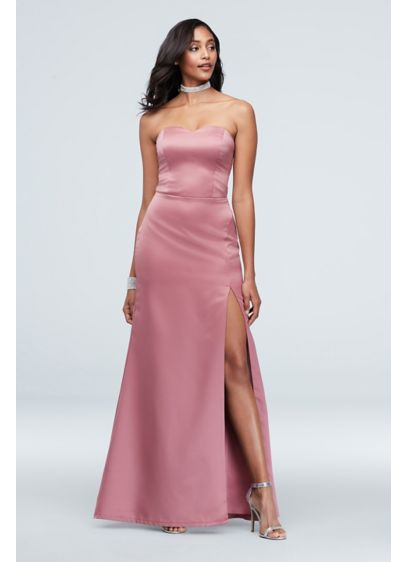 Matte Satin Strapless Sheath Gown with Slit - Feel confident and elegant rocking this sleek sheath