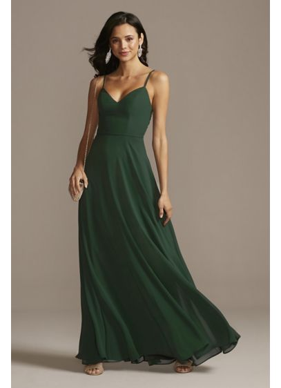 Corded Lace Back Dress with Chiffon Overlay - While a delicate chiffon overlay and spaghetti straps
