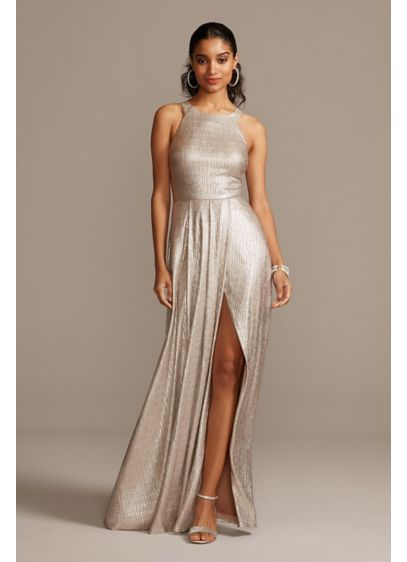 Metallic Crinkle High Neck Dress with Slit - Make an entrance in this sleek, high-neck dress,