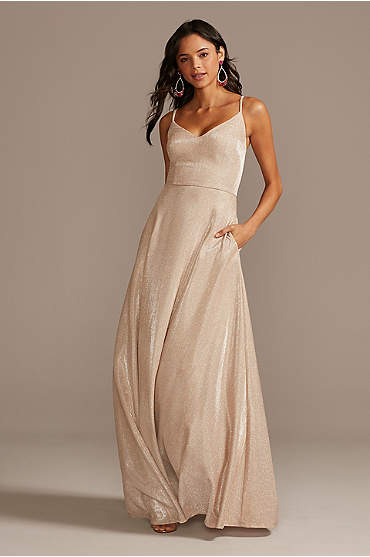Glitter Knit Spaghetti Strap Gown with Pockets