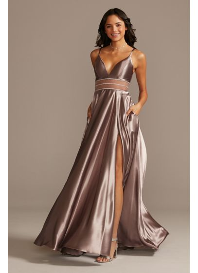Shiny Satin Plunging Gown with Illusion and Slit | David's Bridal