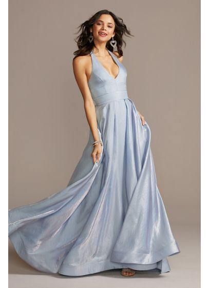 Iridescent Shimmer Plunging Halter Ball Gown - This classic halter ball gown is anything but