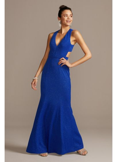 Deep-V Stretch Glitter Dress with Cross-Back - Catch the light with every step in this