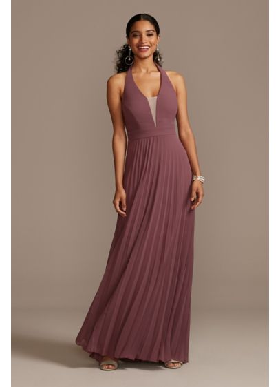 Floor-Length Chiffon Deep V-Neck Halter Dress - Channel your inner goddess in this floor-length dress,