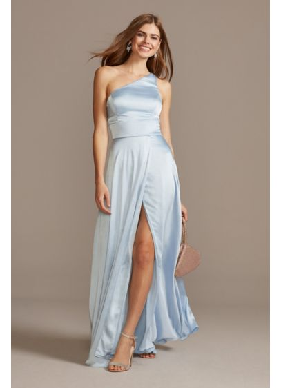 One Shoulder Satin Gown with Open-Front Slit - This classic A-line gown transforms into a modern,