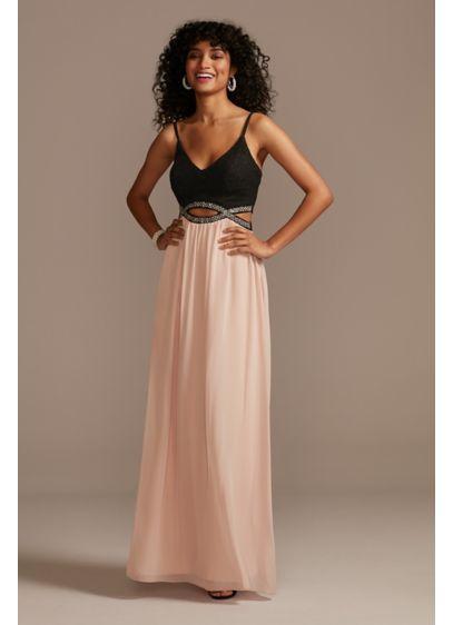 Beaded Cutout Chiffon Spaghetti Strap Maxi Dress - This long, flowy dress is crafted of chiffon,