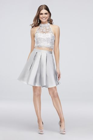 Glitter Lace Pleated Two Piece Short Dress Davids Bridal At