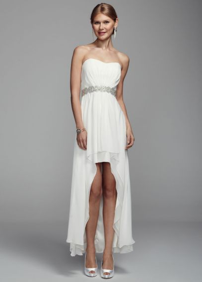 Strapless Chiffon High Low Gown With Beaded Waist Davids Bridal