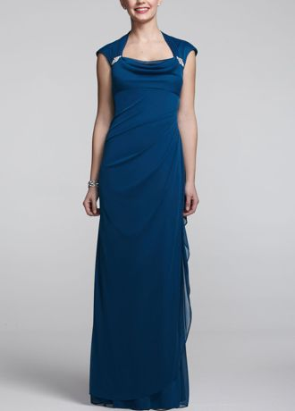 Long Cap Sleeve Jersey Dress with Side Ruching - Make an elegant statement no one will forget