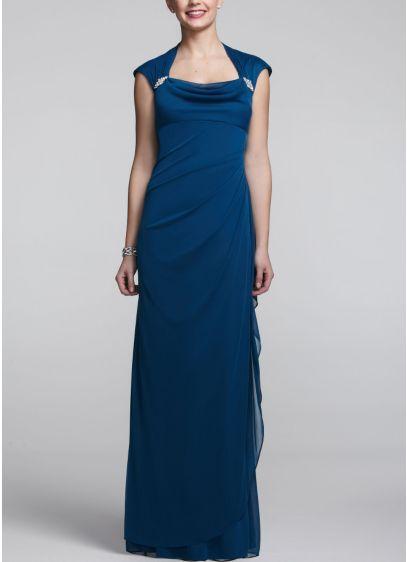 Long Sheath Cap Sleeves Dress -
