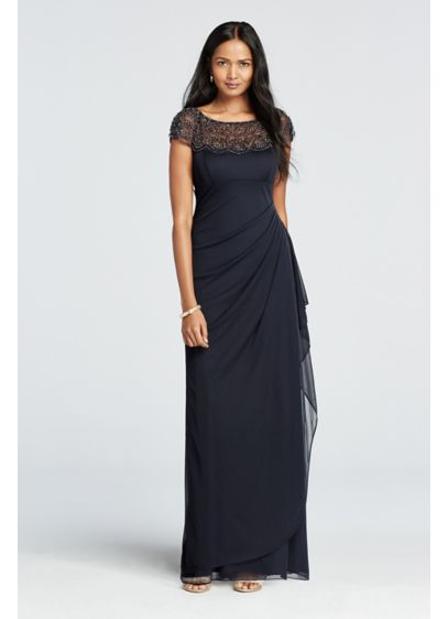 6e6712ca5aaa4 Cap Sleeve Beaded Illusion Neckline Dress