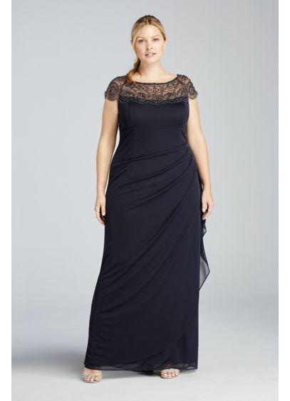 Long Blue Soft & Flowy Xscape Bridesmaid Dress