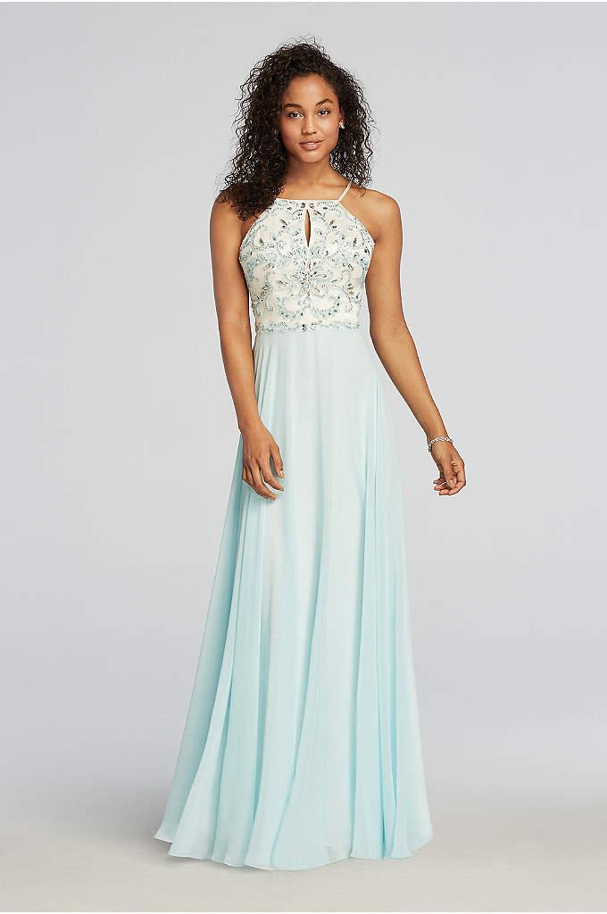 Beaded Halter Chiffon Prom Dress with Keyhole Neck