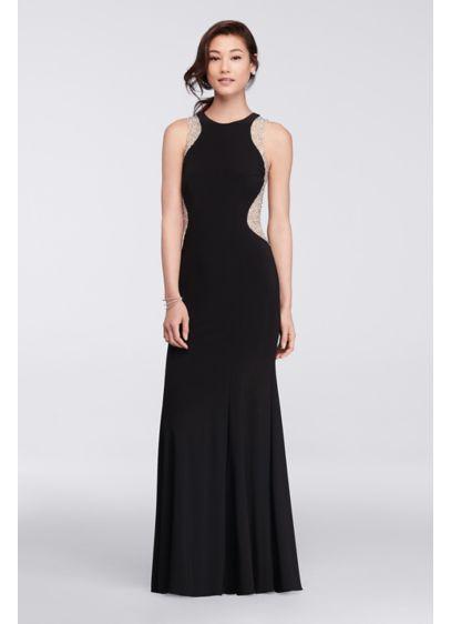 Long Black Soft & Flowy Xscape Bridesmaid Dress