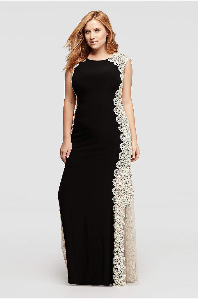 Long Cap Sleeved Dress with Glitter Chemical Lace