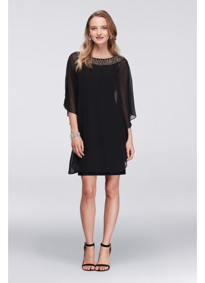 Short A-Line Capelet Cocktail and Party Dress - Xscape