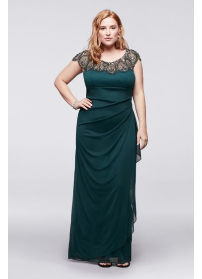 Xscape Green (Plus Size Cap Sleeve Long Dress with Beading)