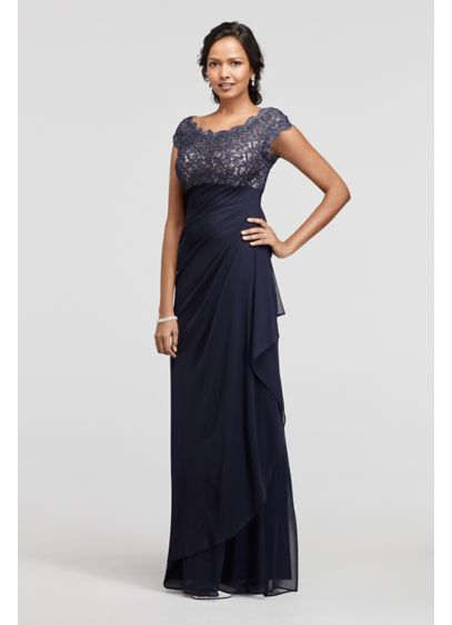 Lace Bodice Long Mesh Dress with Cap Sleeves - This dress is definitely a winner for any