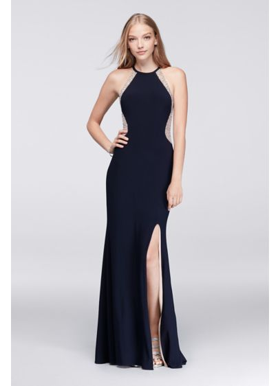 Long Sheath Halter Cocktail and Party Dress -