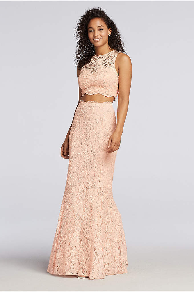 46eca998e89 Lace Two Piece Prom Dress with Scalloped Trim