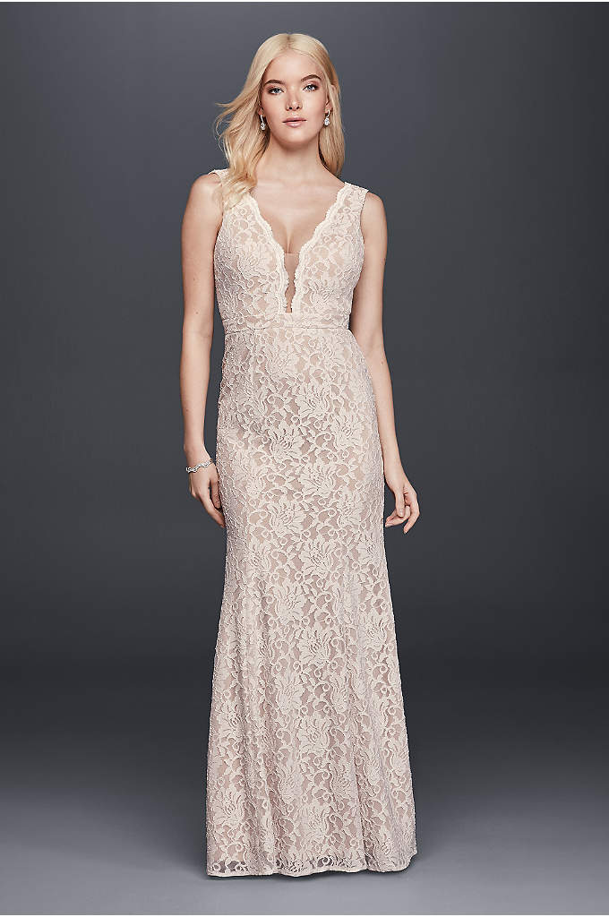Lace Sheath Wedding Dress with Plunging V-Neckline - This figure-hugging, stretch-lace sheath would be beautiful as