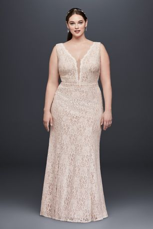 0129e893302 V-Neck Lace Sheath Plus Size Wedding Dress | David's Bridal