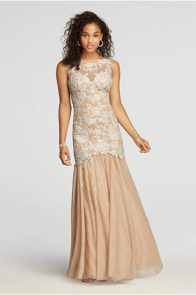 Sleeveless Lace Prom Dress with Mesh Mermaid Skirt