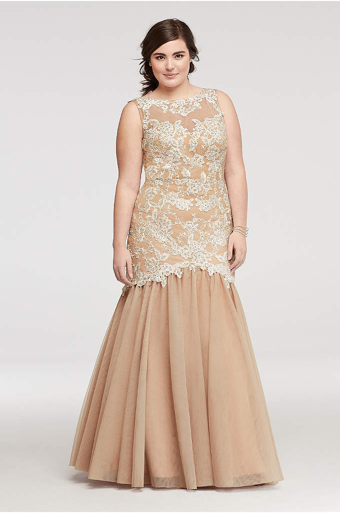 Illusion Lace Prom Dress with Mesh Mermaid Skirt