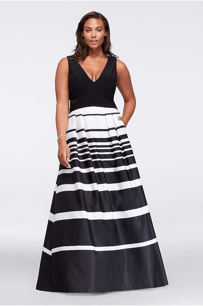 V-Neck Printed Plus Size Dress with Mesh Cutouts