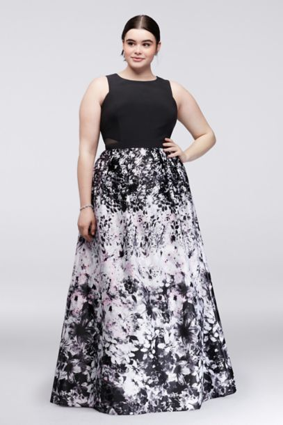 Printed Plus Size Ball Gown With Illusion Sides Davids Bridal