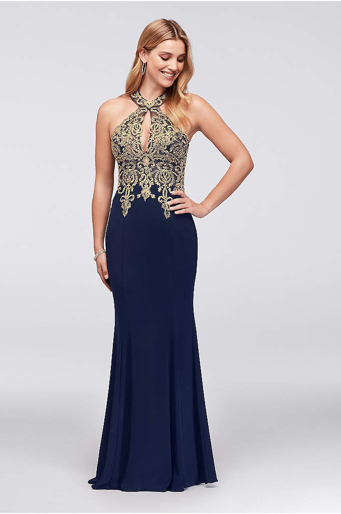 Metallic Lace and Jersey Round Neck Halter Gown - Gold corded lace adds bright shine to the