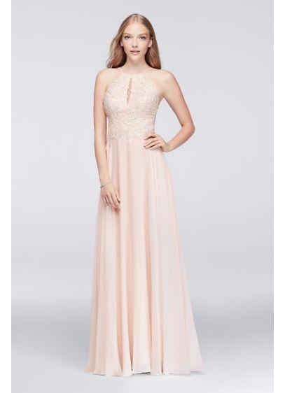 Xscape Pink (Beaded Lace Chiffon Dress with Spaghetti Straps)